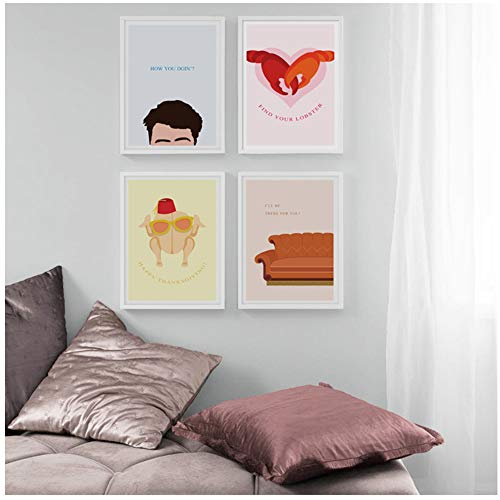 YangDINGYAO Nordic wooncultuur HD Freund TV Show deur stoere kat canvas schilderij minimalisme poster 40x60 cm geen lijst
