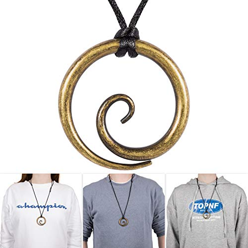 E-cowlboy Celtic Spiral Pendant Hand-Forged Iron with Adjustable Nylon Neck Cord Dark Age/Medieval/Viking/Norse/Blacksmith/Necklace (Brass Color)