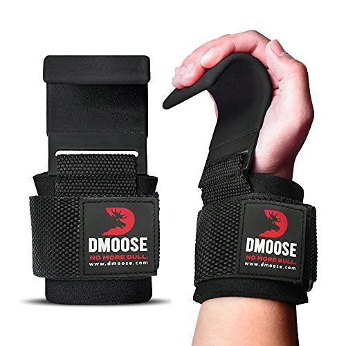 DMoose Fitness Weight Lifting Hooks Grip (Paar) - 8 mm Thick Padded Neoprene - Sichern Sie Ihren Griff und erreichen Sie Ihre Ziele mit Premium Workout Hook Handschuhe