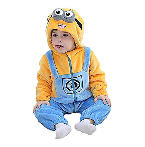 EASYHON Unisex Baby Flannel Romper Animal Onesie Costume Hooded Cartoon Outfit Suit (110(24-30M), Colour1)
