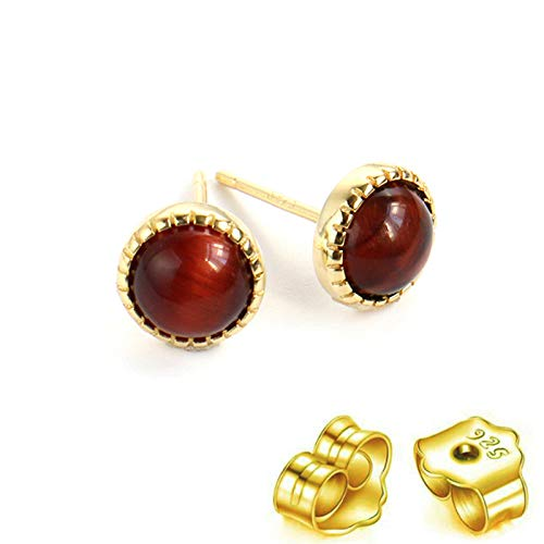 HUYV Stud Earrings For Woman,Fashion Natural Round Red Tiger Eye Stone Golden Earrings 925 Silver Stud Earrings For Christmas Birthday Jewelry Gift Men Girls