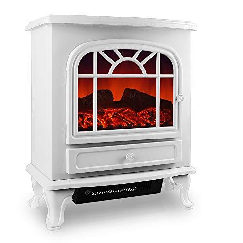 Elektrokamin Elektrischer Kamin mit Heizung LED Kaminfeuer Effekt Heizer Ofen 2000W 60 x 28 x 50cm weiß E Kamin Deko