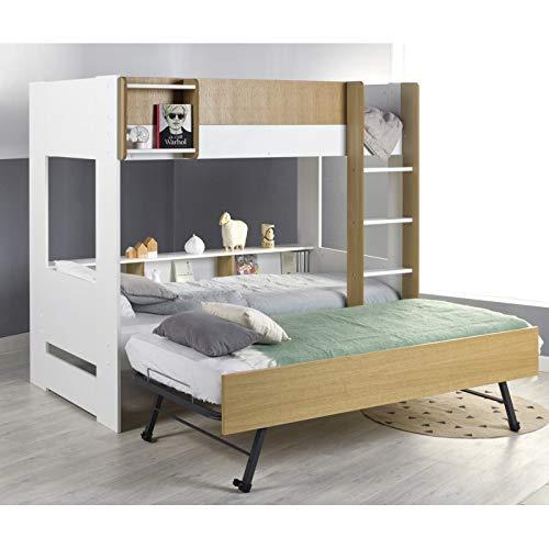 Alfred & Cie Magnus - Pack litera + cama nido plegable (madera), color blanco y madera