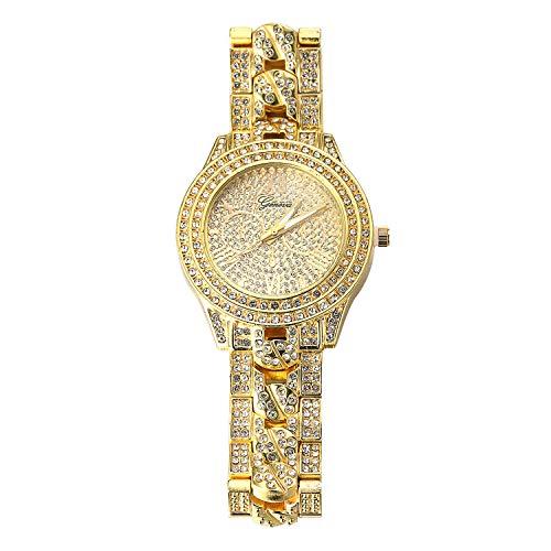 Halukakah Reloj de Oro Hombres Iced out,Chapado en Oro Real de 18k Pulsera de Cuarzo con Banda Insertada en Cadena Cubana 9.5'(24cm),Cz Completo Diamante de Laboratorios,Gratis Caja de Regalo