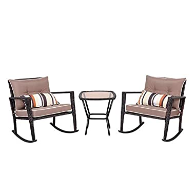 TANGKULA Rocking Set 3 Piece Outdoor Patio Garden Poolside Wicker Rattan Two Rocking Chairs and One Glass Top Coffee Table Set Cushioned Conversation Set (Brown)
