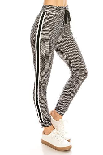 ALWAYS Women Drawstrings Jogger Sweatpants - Super Light Skinny Fit Premium Soft Stretch Plaid Checkered Pockets Track Pants Black White US S (Tag S/M)