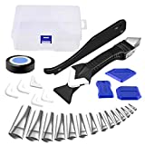 Caulking Tool Kit, 27 Pcs Caulk Nozzle Applicator Finishing Tool Grout Scraper with Replaceable Silicone Covers, 4 in 1 Caulk Remover for Kitchen Bathroom Window, Sink Joint