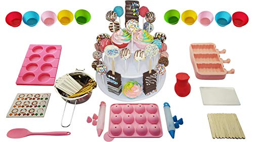 Vmarketingsite Cake Pop Maker Kit for Home Bakers – Set Includes Silicone Molds For Lollipop, Cake Pop, Muffin, Cakesicle Mold, Spoon, 3 Tier Stand, 2 Decorative Pens Stainless Steel Boiling Pot