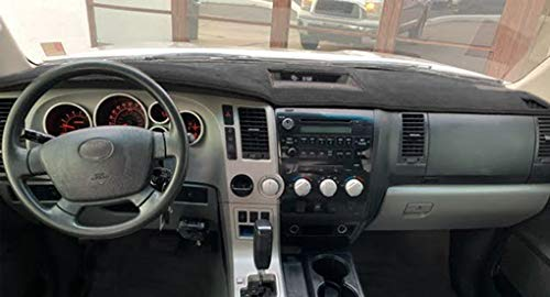 YIZ Dash Cover Mat Custom Fit for Toyota Tundra 2007-2013,Dashboard Cover Pad Carpet (07-13 Black) J25