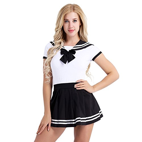 iEFiEL Donna Vestito da Marinaio School Girl Costume per Cosplay Sailor Anime Uniforme da Scolastica Studentessa Giapponese 2 PCS Body & Gonna a Righe Nero M