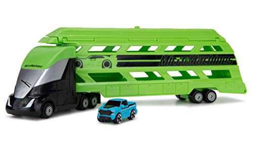 Micro Machines Mini Vehicle Hauler in Green - Includes One Exclusive MM Car - Open The Top of The Trailer / Lower The Back Ramp, Load Up to Eight Cars - Collect Them All