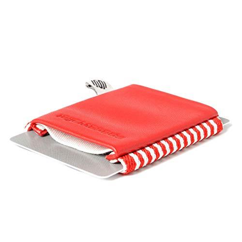 Space Wallet Classic I Mini Portemonnaie für Damen & Herren I Kleine Echtleder Geldbörse für bis zu 15 EC-Karten/Kreditkarten/Visitenkarten I Kartenetui mit Scheinfach I Drive Red