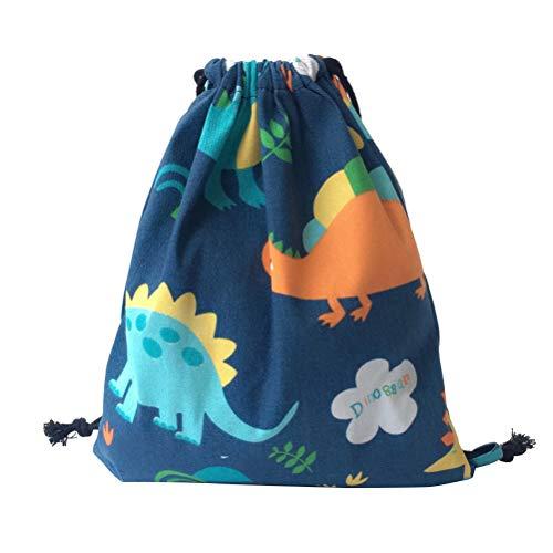 FENICAL Mochila de Lazo Dibujos Animados Dinosaurio Impresa Gym Bag Canvas Packsack para niños bebés niños