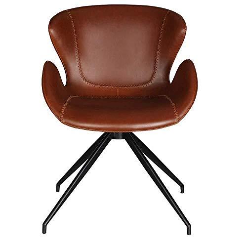 Tokyia norte de Europa Silla de comedor Silla de oficina silla del ocio moderno minimalista silla de escritorio de cuero adecuado Sillas Home Hotel Restaurante de cocina (Color: Marrón, Tamaño: 52x52x