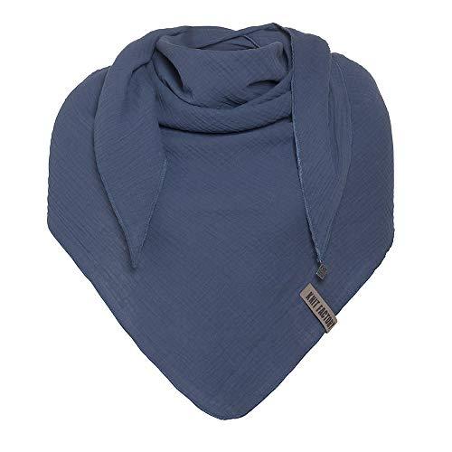 Knit Factory - Liv Dreieckstuch - Tuch Schal für Damen - Weiches Musselintuch - Für Frühling und Sommer - 100% Baumwolle - Jeans