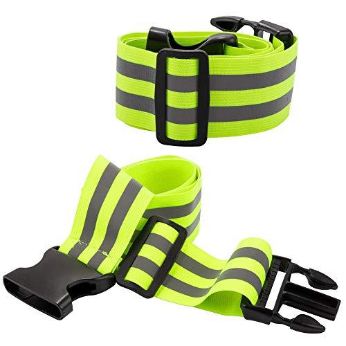 ECENCE 2X Reflektorgürtel Reflektorgurt Hohe Sichtbarkeit Kinder Erwachsene Jogging Laufen Fahr-Radfahren Klettern Reflektierend Band Neon Gelb Sicherheitsgürtel