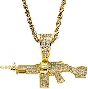 Moca Jewelry Iced Out Machine Gun Pendant 18K Gold Plated Chain Bling CZ Simulated Diamond Hip product image