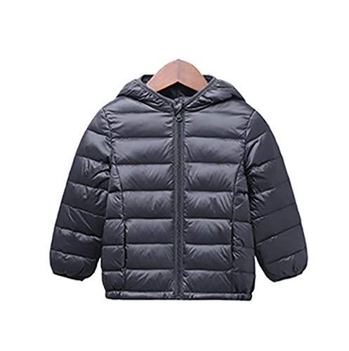 JS One Niños Unisex con Capucha Abajo Acolchado Puffer Chaqueta de Invierno de Ropa de Vestir - 90cm / 2-3 años (Gris)