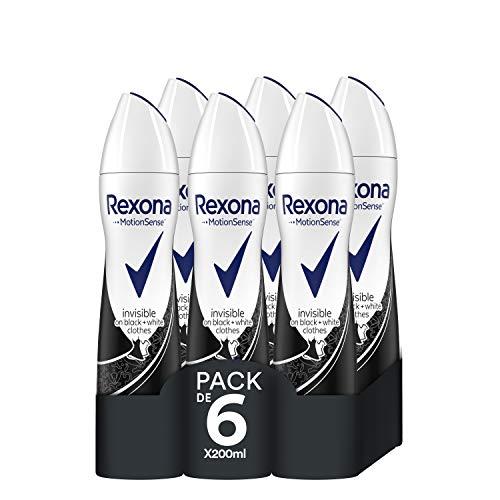 Rexona Desodorante Antitranspirante Invisible On Black&White Clothes - Pack de 6 x 200 ml (Total: 1200 ml)