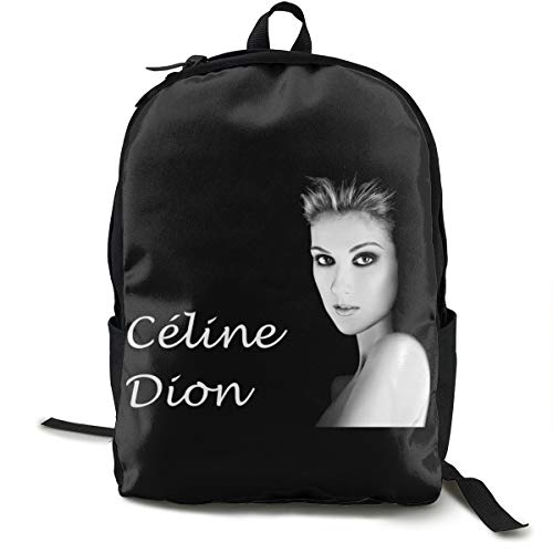N / A Celine Dion Classic Backpack Schoolbag Black Bag Polyester Unisex School Work Travel