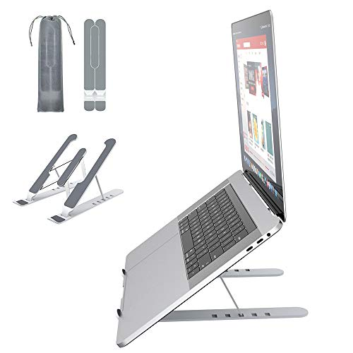 Soporte Portátil Mesa 6 Ángulos Ajustables, Plástico ABS+silicona+aleación de aluminio, Soporte Ordenador Ventilado Plegable, Laptop Stand, Ligero Soporte Mesa para Macbook DELL XPS, HP, PC 10-15.6'