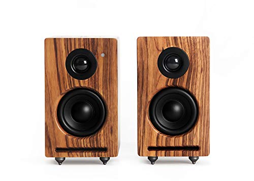 RÖTH & MYERS Twin Speakers HiFi - Altavoces WiFi/Bluetooth. Altavoces de estantería. Diseño Único en Madera de Zebrano 100% Natural. Multiroom. Conecta: Spotify, Airplay, DLNA, Óptica. 70W
