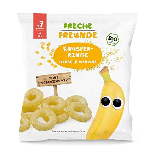 Freche Freunde Bio Knusper-Ringe Hirse & Banane, Baby Knabberzeug mit Obst, für Babys ab 7 Monaten, glutenfrei, 8er Pack (8 x 20 g)