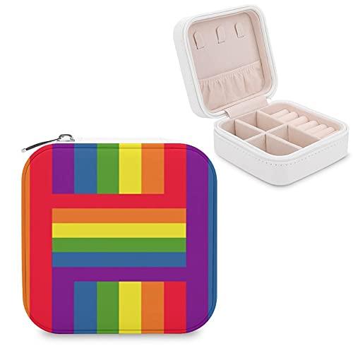 Caja de joyería con diseño de bandera de arco iris, diseño de orgullo gay para joyas pequeñas y joyas, pendientes, organizador de collares y collares de piel sintética para mujeres y niñas