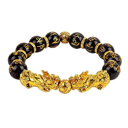 Pulsera Fengshui Para Hombre, Pulsera De Obsidiana Negra, Encanto De Oro, Brazalete Pixiu De 10 Mm, Cuentas De Piedra Natural, Joyería Para Mujer, Amuleto De La Suerte