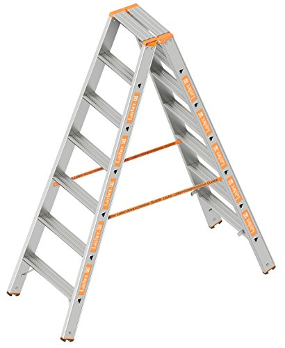 Layher 1043007 Stufenstehleiter Topic 7 Aluminiumleiter 2x7 Stufen 80 mm breit, beidseitig begehbar, klappbar, Länge 1.75 m