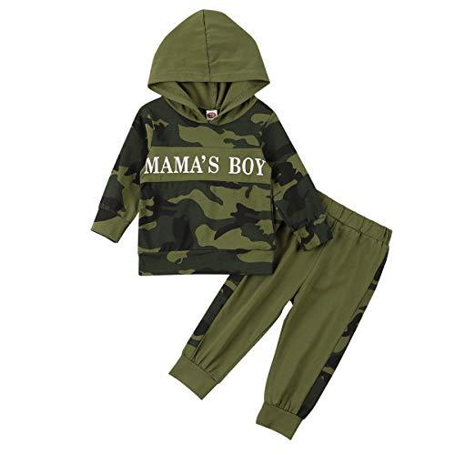 Ropa para bebé niño bebé niño mamá letra impresa sudadera con capucha pantalones de camuflaje conjuntos de ropa