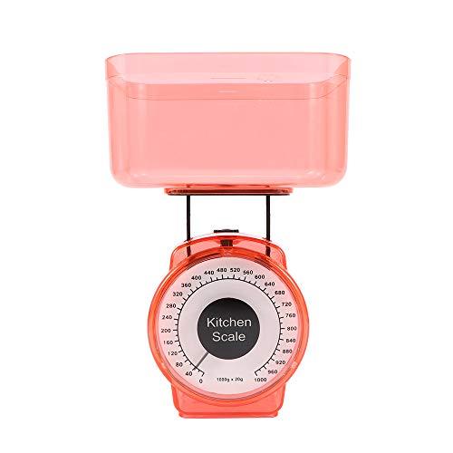 Báscula mecánica de cocina de plástico compacta de 1 kg, herramientas de medición de dieta, mini báscula de precisión para pesaje de alimentos