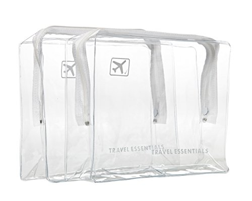 2 x TRAVEL ZIP BAGs CLEAR AIRPORT TRANSPARANT LIQUID TOILETRIES CABIN HOILDAY POUCH