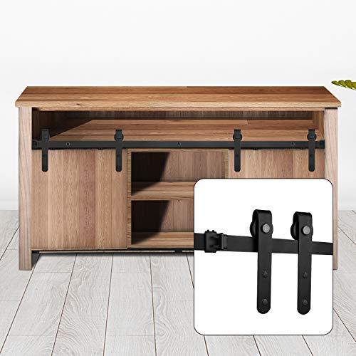 6ft Cabinet Sliding Barn Door Hardware Kit, Umoonfine Carbon Steel Heavy Duty Double Door Rails Fit 18'-24' Wide Door Panel, Suitable for Cabinet Windows, Easy to Install