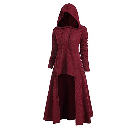 iDeesse Women' s Plus Size Hooded Ribbed Sweater Long Sleeve High Low Hem Drawstring Hoodie Outerwear Pullover Tops Red Wine