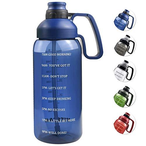 Mosako - Botella de agua (aproximadamente 1,8 litros) con pajitas con asa sin BPA, apta para el gimnasio, la cocina, el trabajo, color azul