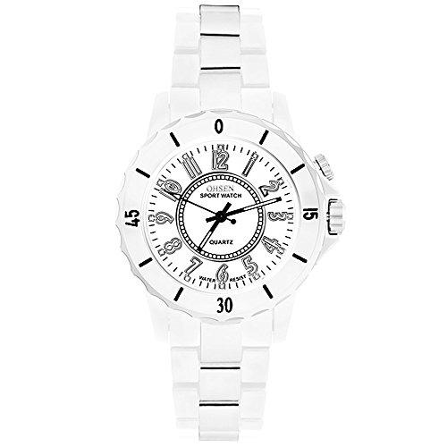 Taffstyle Damen Herren Sportuhr Armbanduhr Metall mit Led Licht Sport Watch Analog Quarz Uhr Weiß