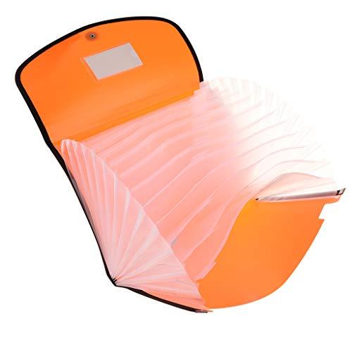 13-Taschen Aktenordner Tragbarer Aktendeckel Dokumenten Mappe Dokumenten Tasche Ziehharmonika Ordner - Orange