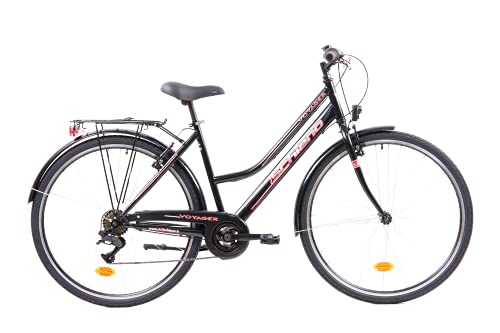 F.lli Schiano Voyager, Bici Trekking Donna, Nero-Rossa, 28