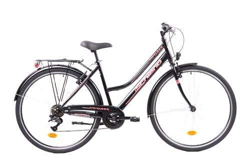 F.lli Schiano Voyager, Bici Trekking Donna, Nero-Rossa, 28''