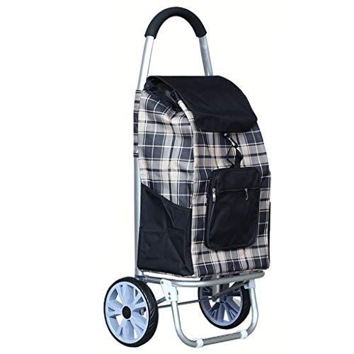 BOC Transporte de remolque de gran capacidad de peso ligero ruedas de la carretilla empuje bolsa de la compra con 2 Ruedas,Negro
