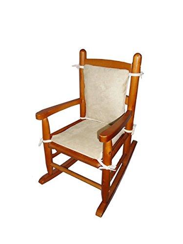 Baby Doll Bedding Suede Junior Rocking Chair Cushion, Beige