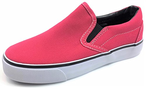Kid's Classic Slip On Canvas Sneaker Tennis Shoes, 2926 HOT Pink 1 US Little Kid