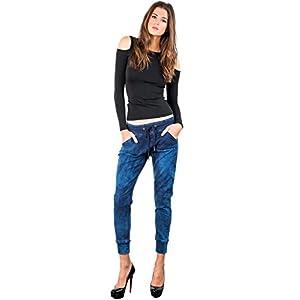 Modern Women's Blue Denim Drawstring Ankle Joggers Pants