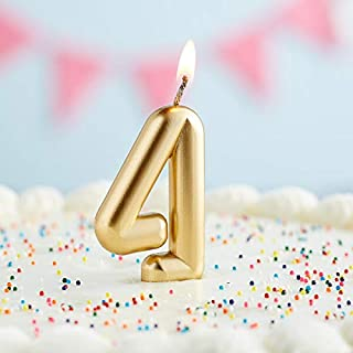 Creative Converting Numeric Birthday Candle #4, Gold