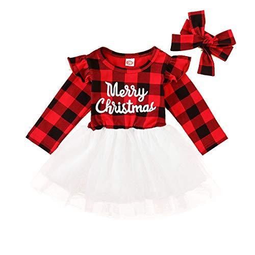 Baby Girl Christmas Clothes Long Sleeve Tulle Tutu Dress Red Plaid Dress Kids Christmas Princess Outfits 6M-5T (Black, 6-12M)