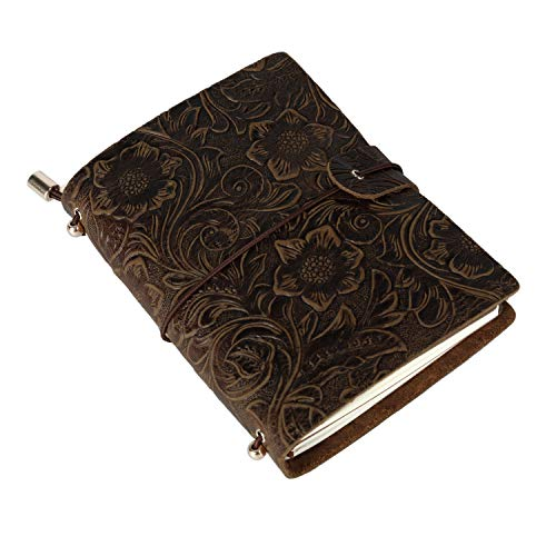 Vintage Leder Notizbuch A6, UBaymax Nachfüllbares Handgefertigt Klein Reise Tagebuch Bullet Journal, Valentinstag Geburtstag Jahrestag Weihnachten Geschenk für Mädchen Frauen, Braun