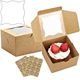 [30pcs]JOERSH Cookie Box with Window, Kraft Paper Cake Boxes for Packaging Pastry/Macaron/Candy/Cupcake/Donuts/Dessert (Star Clear Window)