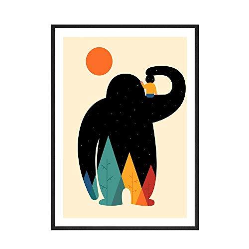 Póster para habitación de niños, póster de oso de color, habitación para niños y niñas, pintura en lienzo decorativa sin marco familiar A 60x90cm
