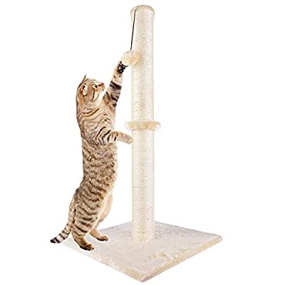 """Dimaka 29"""" Height Tall Cat Scratching Post, Claw Scratcher with Sisal Rope and Covered with Soft Smooth Plush, Vertical Scratch [Full Strectch] for Standard Size Cats. (Beige)"""